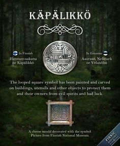 The looped square symbol has made an appearance in numerous ancient objects found in Northern Europe. In Finnish it's called Käpälikkö (pawform) or Hannunvaakuna (Saint John's Arms). Lappland, Finnish Tattoo, Esoteric Symbols, Learn Finnish, Finnish Words, Finnish Language, Vikings, Viking Age, Norse Mythology