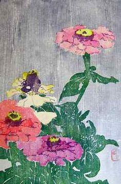"""Edna Boies Hopkins, American 1872-1937, """"Zinnia,"""" Woodblock print"""