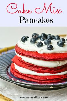 Use your favorite flavor of boxed cake mix to make these light and fluffy pancakes! Cake Mix Pancakes {Tastes of Lizzy T}