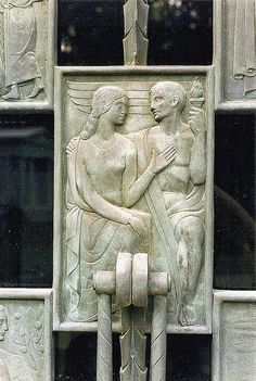 ❤ - Art Deco-influenced figures are from the door of the Wilson family mausoleum at Woodlawn Cemetery.    The door was designed by Corrado Parducci.