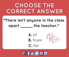 Quiz with prepositions: apart from the teacher