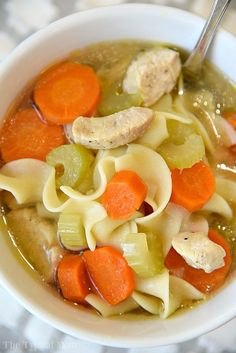 The best Instant Pot chicken noodle soup recipe that takes just 5 minutes and it's done! Super healthy pressure cooker soup recipe we all love!