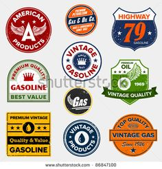 Set of vintage retro gasoline signs and labels - stock vector