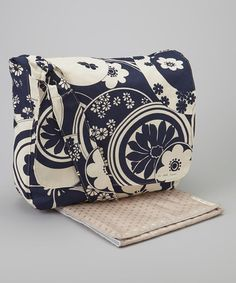 Take a look at this La Bella Couture Navy Floral Swirl Large Messenger Diaper Bag by La Bella Couture Creations on #zulily today!