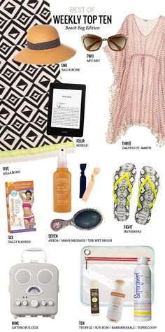 """// Beach Bag Essentials from Modern Eve // I """"need"""" #1 and #8!! STAT!"""