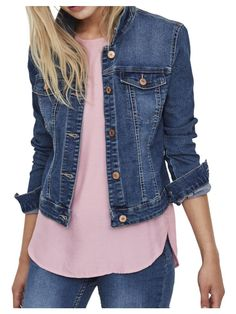 Noisy May Women's Denim Jacket - Blue - Size Large Jean Jacket Outfits, Blue Jean Jacket, Casual Work Outfits, Modest Outfits, Office Outfits, Cotton Dress Indian, Road Trip Outfit, Dandy Style, Everyday Outfits
