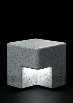 Cube Outdoor Bench + Light by Kim HyunJoo Concrete Light, Precast Concrete, Concrete Lamp, Concrete Design, Concrete Crafts, Concrete Projects, Landscape Lighting, Outdoor Lighting, Lamp Design