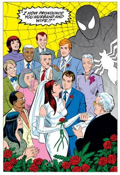 Spider-man Peter Parker Mary Jane Watson Venom wedding man and wife Stan Lee Spiderman, Spiderman Art, Amazing Spiderman, Mary Jane Watson, Comic Book Characters, Comic Character, Comic Books, Comic Book Wedding, Studios