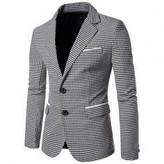 2017 New Arrival Men Houndstooth Blazer Fashion Design Slim fit Men Casual Suit Blazer High Quality blazer masculino Cheap Mens Blazers, Blazers For Men Casual, Casual Blazer, Casual Suit, Fall Blazer, Plaid Blazer, Men Blazer, Houndstooth Jacket, Plaid Jacket