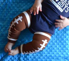 Brown and White Football Baby Leg Warmers for Baby Boy or Girl