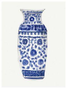 Jarrón Chino Azul 2 - Elena Calonje, Arte e Ilustracion | Art and Illustration