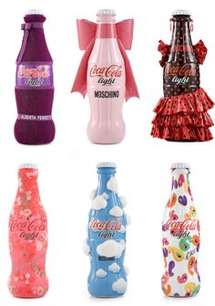 """Tribute to Fashion"" charity project, Coca Cola - Italian designers put their stamp on its limited edition bottle, including Moschino, Donatella Versace, Angela Missoni, Alberto Ferreti, Consuelo Castiglioni and Etro."