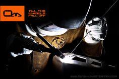"""Outback Motortek """"State-of-the-Art"""" employee welds aluminum Outback Motortek dual sport skid plate for Suzuki V-Strom. www.outbackmotortek.com"""
