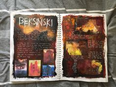 GCSE sketchbook - Looking at Beksiński, hell and exploring colour and texture A Level Art Sketchbook, Sketchbook Layout, Textiles Sketchbook, Sketchbook Inspiration, Sketchbook Ideas, Artist Research Page, Collages, Bullet Art, Art Alevel
