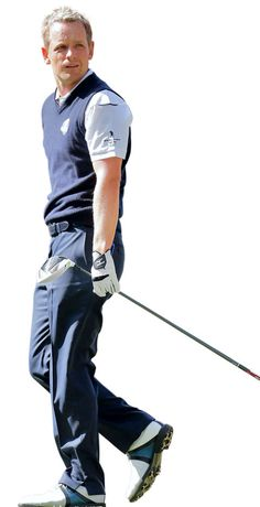 Baller It is easy to look ridiculous playing golf, and it is easy to look unremarkable. But to look good — that is, to look as confident and comfortable as one would anywhere — is a rare feat, and this English golfer managed to look very good as he helped bring home the Ryder Cup for Europe. Donald's tricks: the sartorial fit of the trousers (he wears Ralph Lauren), the snug fit of the shirt, and the stark interplay between navy blue and white.
