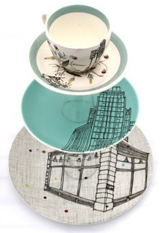 Esther Coombs cake stand. I like the teacup at the top. Maybe to put earrings or rings :)