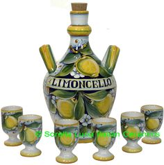 Limoncello Bottle - Lemons - 27cm high x 17cm wide (10.5 in high x 6.5 in wide).  Limoncello Chalice reference: TAZLEM0705YG