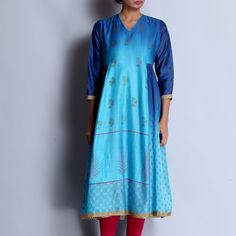 Dark Blue & Blue Chanderi Hand Block Printed Kurta With Gota Details Indian Suits Online, Indian Clothes Online, Suits Online Shopping, Kurta Designs Women, Sari Fabric, Indian Ethnic, Indian Outfits, Printing On Fabric, Dark Blue