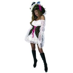 Adult Natural Lacey Pirate Lady Costume