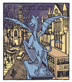 "Tobaias Till ~ ""F"" Fleet Street from London A-Z Complete Boxed Set (2012) ~ Linocut, Somerset satin 250 gsm paper, 41.5 x 37.5 cm"