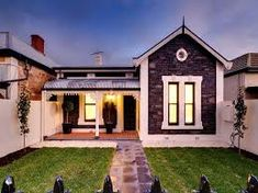 blue stone house - Google Search Australian Homes, South Australia, Exterior Paint, Facade, Living Spaces, Beautiful Places, Villa, Mansions, House Styles
