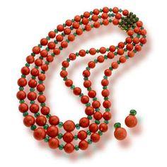Bonhams 1793 : A coral and emerald bead multi-strand necklace and earclips, Sabbadini