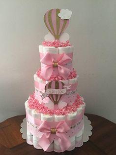 Hot air balloon diaper cake, Diaper cake, Baby shower, Hot air balloon baby shower, Neutral diaper cake, Gender diaper cake,