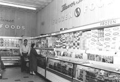 Vintage shoppers in the frozen foods section of a Safeway grocery store.