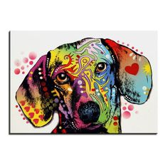 Abstract Dachshund Oil Painting