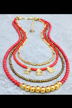 Red & Gold Holiday Necklace: Holiday Inspired Red Glass, Bronze and Gold Charm Layered Necklace Red Jewelry, Gypsy Jewelry, Jewelry Ideas, Multi Strand Necklace, Layered Necklace, Blue And Copper, Red Glass, Bronze, Necklaces