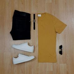 Men Casual T-Shirt Outfit 🖤 Very Attractive Casual Outfit Grid, Best Smart Casual Outfits, All White Sneakers, Women's Sneakers, Sneakers Design, Smart Casual Men Sneakers, Leather Sneakers, Outfit Grid, Mens Fashion, Fashion Outfits