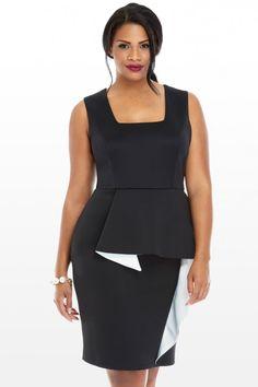 4b4b7cc73ec4b Kiara Color Block Ruffle Dress. Plus Size ...