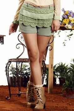 The shorts made of Knitting, featuring tiered layers, bowknot embellishment to the belt, all in mini length cut.$67