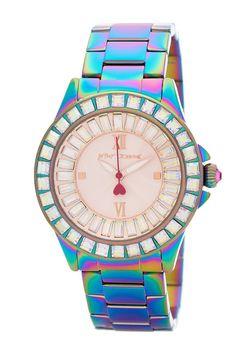 Image of Betsey Johnson Women's Rainbow Steel Bracelet Watch