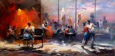 Music with view 2 by Willem Haenraets. #Haenraets #art #artist #beautiful #gallery #paint #painting #music #tango #RossoLatino