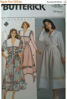 Butterick 3736 Eileen West Blouson Dress Sewing Pattern Size Dress, below mid-calf or lower calf, has collar, shoulder puffs, very Dress Sewing Patterns, Vintage Sewing Patterns, Clothing Patterns, 80s Fashion, Fashion History, Vintage Fashion, Vintage Dresses, Vintage Outfits, 1980 Dresses
