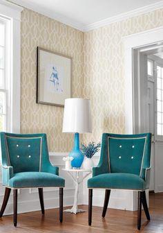 beige & ivory wallpaper, teal velvet chairs- Thibaut
