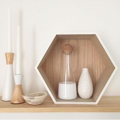 Kmart Homewares Hexagon Shadow Box  in white and blonde woods styled by the other lauren