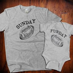 Sunday Funday football tshirt set, Mommy and Me Shirts, dad and baby matching shirts, father daughter, father son football shirts by PinkRobotShirts on Etsy
