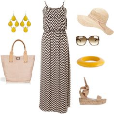 Cute black and white chevron summer dress outfit!