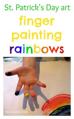 Finger Paint a Rainbow - Make rainbows with your fingers! A fun finger painting activity for St. Would be great for increasing body awareness and finger isolation! Rainbow Activities, Rainbow Crafts, Spring Activities, Fun Activities, Spring Crafts, Holiday Crafts, Holiday Fun, Daycare Crafts, Toddler Crafts