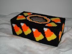 Candy Corn Tissue Box Cover OOAK by cecrafts on Etsy, $6.00