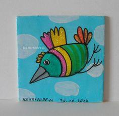 WILD UND FREI-VERRÜCKTE VÖGEL Nr. 2 von Herbivore11 Inchie Vogel Minibild Kunst