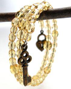 Yellow Jewelry, Beaded Wrap Bracelet, Childrens Jewelry, Memory Wire Bracelet, Locket Charm Bracelet