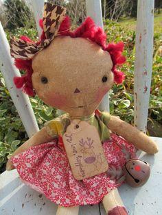 Vintage Raggedy Annie loves her reindeer by oldragdollcupboard