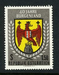 Austria Scott 1961 Arms of Burgenland Member of the Austrian Republic. German Stamps, Harry Potter Poster, The Beautiful Country, Stamp Collecting, Coat Of Arms, Travel Posters, Postage Stamps, Vivid Colors, Herb