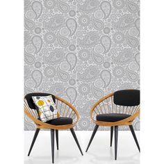 Mini Moderns Paisley Crescent Wallpaper,Concrete