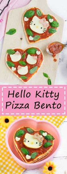 Hello Kitty Pizza Bento - Turn your bento box into a Hello Kitty pizza party! No Hello Kitty fan will be able to resist these 3 fun & easy Hello Kitty pizza designs. Guaranteed lunchtime fun! Get the recipe at: loveatfirstbento.com {kyaraben, character bento}
