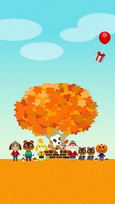 秋の村 ゲーム動物の森の壁紙