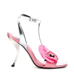 mytheresa.com - Virgule Fleur leather and satin sandals - sandals - Shoes - Sale - Luxury Fashion for Women / Designer clothing, shoes, bags